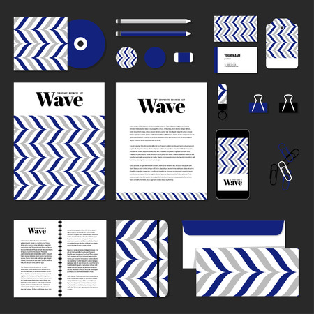 documentation: Corporate identity business set design. Vector stationery template design with wave line. Documentation for business. Illustration