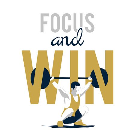 slogan: Levantamiento de pesas atleta y lema de motivación. concentrarse y ganar