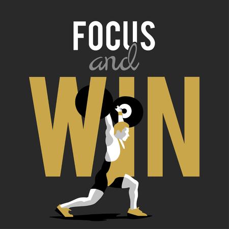 squat: Weight Lifting athlete and motivational slogan. focus and win