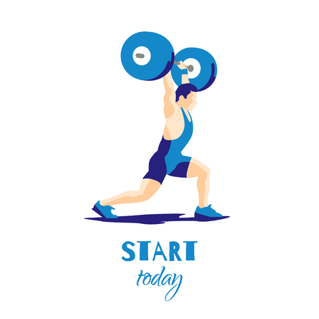 snatch: Weight Lifting athlete and motivational slogan. Try try try. Squat and jerk. Colorful symbol