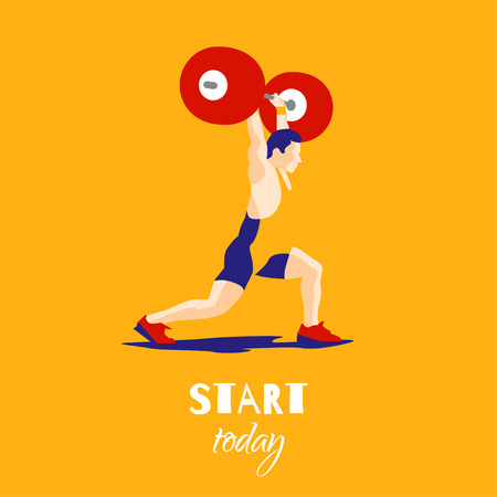 squat: Weight Lifting athlete and motivational slogan. Try try try. Squat and jerk. Colorful symbol