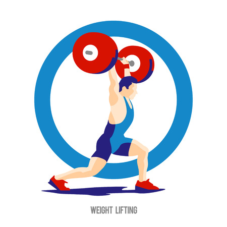 jerk: Weight Lifting athlete on ring background. Squat and jerk. Crossfit. colorful symbol