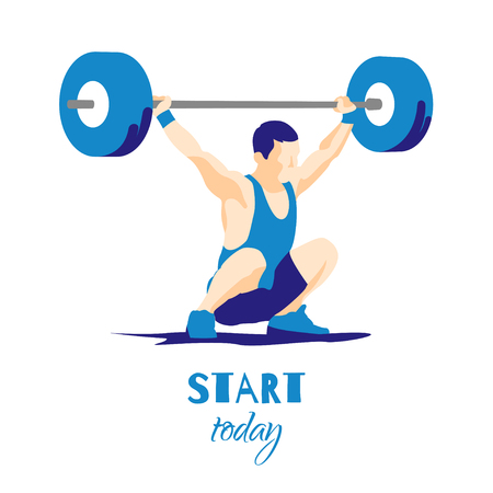 snatch: Weight Lifting athlete and motivational slogan. Start today. Snatch. Colorful symbol