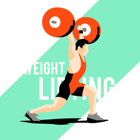elite sport: Weight Lifting athlete. Squat and jerk. Colorful symbol