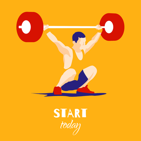 squat: Weight Lifting athlete and motivational slogan. Start today. Snatch. Colorful symbol