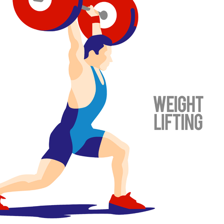 squat: Weight Lifting athlete. Squat and jerk. Colorful symbol