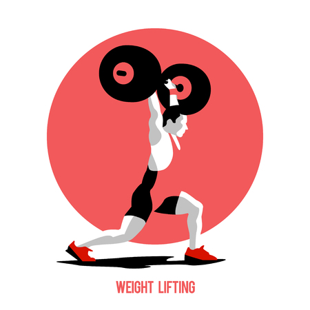 jerk: Weight Lifting athlete. Squat and jerk. Colorful symbol