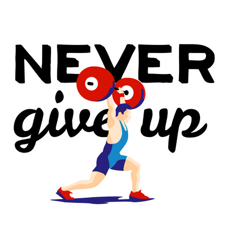 squat: Weight Lifting athlete and motivational slogan. Never give up. Squat and jerk. Colorful symbol