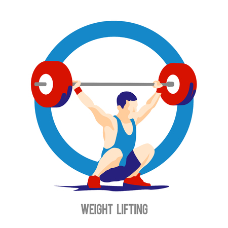 snatch: Weight Lifting athlete on ring background. Snatch. Colorful symbol