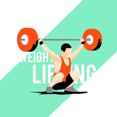 elite sport: Weight Lifting athlete on diagonal background. Snatch. Colorful symbol Illustration