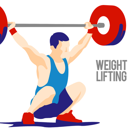 snatch: Weight Lifting athlete. snatch. Crossfit. colorful symbol Illustration
