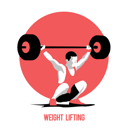 snatch: Weight Lifting athlete on circle background. Snatch. Colorful symbol