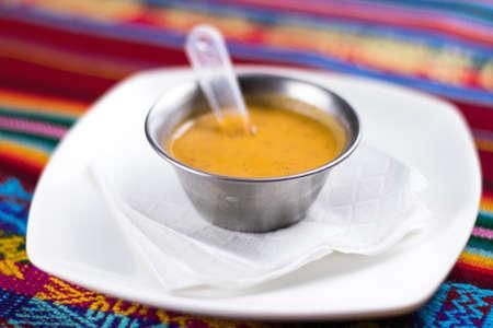 Peruvian food: Cremas, aji Foto de archivo - 102216954