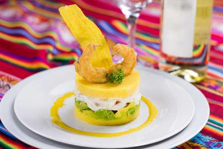 Peruvian food: Causa, comida peruana Foto de archivo - 102216956