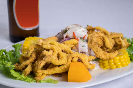 peruvian food: fish ceviche with squid with beer Foto de archivo - 104499053