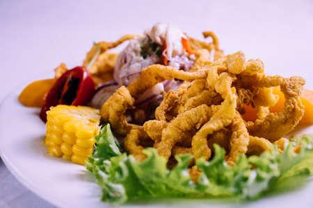 peruvian food: fish ceviche with squid chicharron Foto de archivo - 104499064
