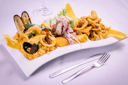 peruvian food: Rice with seafood