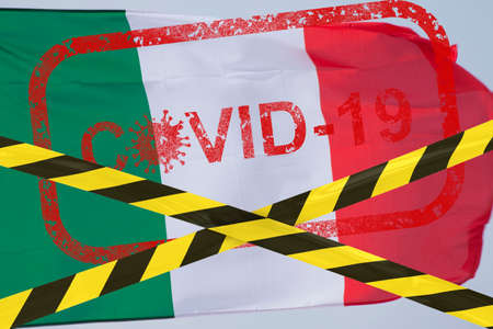Barrier tape - quarantine, isolation, travel ban, coronavirus pandemic. Italy flag waving in the wind stamp covid-19 closed borders
