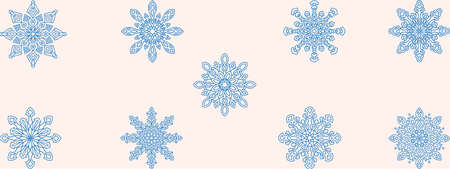 Collection of different lace snowflakes of blue color for the design of New Years, Christmas works