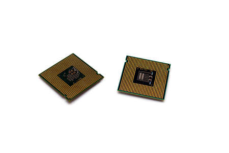 Intel computer central processing units isolated on white background pins up socket 775 untitled selective focus