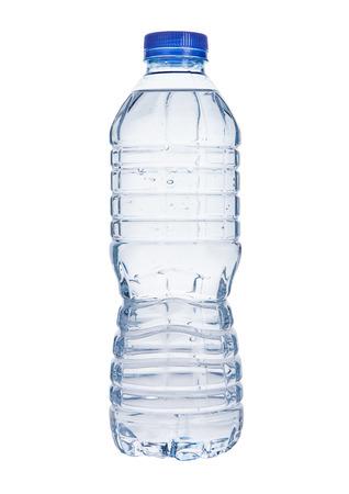 Plastic still mineral water bottle on white  background