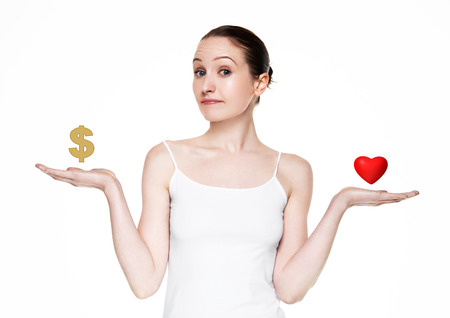 choise: Beautiful women choose between love and money on white background