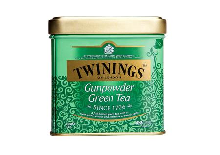 gunpowder: LONDON, UK -SEPTEMBER 11, 2016: Twinings Gunpowder Green tea isolated on white background