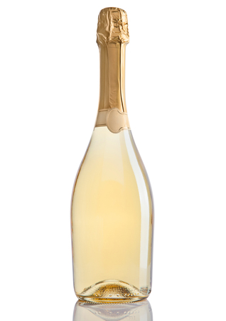 popping cork: Bottle of champagne golden yellow color on white background Stock Photo