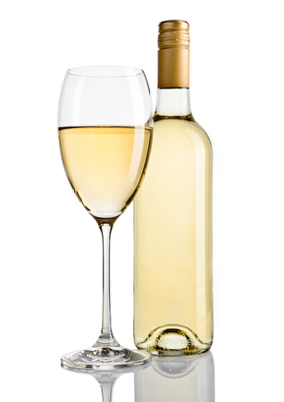 Bottle and glass of white wine with reflection on white background Stock Photo