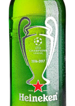 LONDON,UK -NOVEMBER 01, 2016: Bottle of Heineken Lager Beer on white background. Champions league 2016-2017. Heineken is the flagship product of Heineken International Editorial