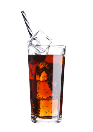 Glass of cola soda drink cold with ice cubes and straw on white background Stock Photo
