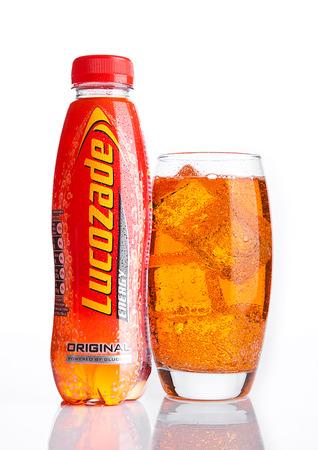 LONDON, UK - NOVEMBER 05, 2016: Lucozade Original Energy Drink shot in studio on white background Editorial