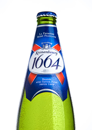 LONDON, UK- NOVEMBER 15 ,2016. Cold bottle of Kronenbourg 1664 beer on white background. A 5.5% pale lager is the main brand of Kronenbourg Brewery owned by the Carlsberg Group