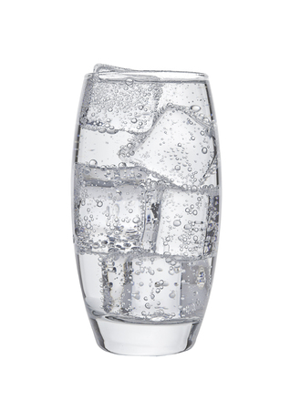 purified: Glass of cold sparkling water with ice cubes  on white background