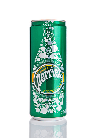 LONDON, UK - DECEMBER 06, 2016: Tin of Perrier sparkling mineral water. Perrier is a French brand of natural bottled mineral water sold worldwide. Editorial