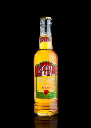 LONDON, UK - DECEMBER 15, 2016: Bottle of Desperados beer, lager flavored with tequila is a popular beer produced by Heineken and sold in over 50 countries. Editorial