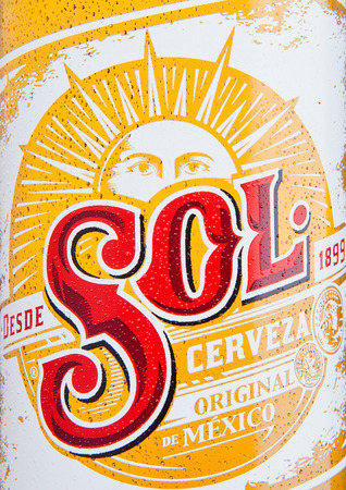 LONDON, UK - DECEMBER 15, 2016: Bottle of Sol Mexican Beer close up label. From the Cuauhtemoc Moctezuma Brewery, in Monterey, Mexico, it was first introduced in the 1890s as El Sol.
