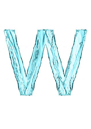 Water splash letter W with light blue color on white background