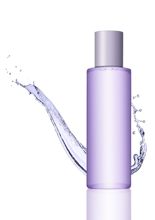 reflection in water: Container with cosmetics skin care body purple cream on white background with reflection and water splash Stock Photo