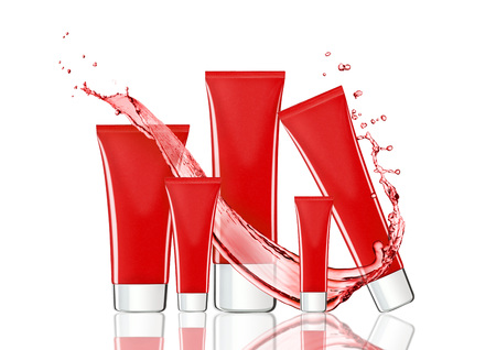 reflection in water: Red skin care cream containers with water splash in white background with reflection