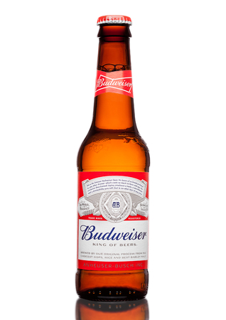 LONDON,UK - MARCH 21, 2017 : Bottle of Budweiser Beer on whote background with reflection, an American lager first introduced in 1876.