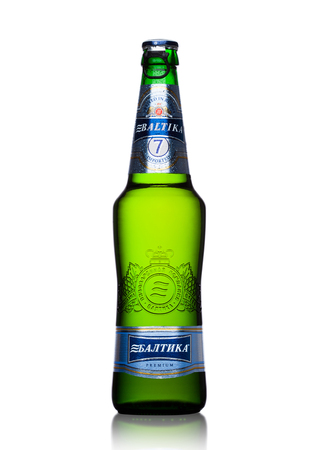LONDON, UK - MAY 15, 2017: A bottle of Baltika Lager beer number Seven premium on white background. Baltika is the second largest brewing company in Russia. Editorial