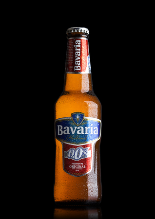 LONDON, UK - MAY 29, 2017: Bottle Of Bavaria Holland non alcoholic beer on black background.Bavaria is the second largest brewery in the Netherlands Editorial