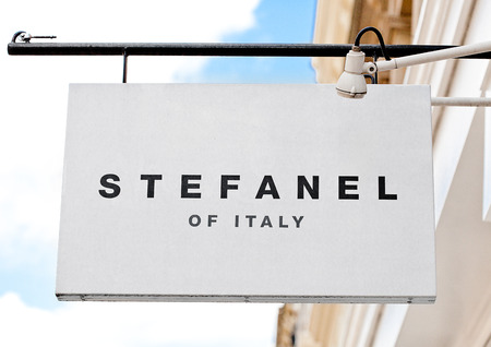 LONDON, UK - JUNE 02, 2017: Stefanel logo display fashion outlet store in London. Editorial