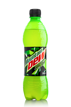 LONDON, UK - JUNE 9, 2017: Bottle of Mountain Dew drink on ice isolated on white background. Mountain Dew citrus-flavored soft drink produced by PepsiCo.