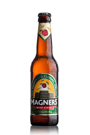 LONDON, UK - JUNE 9, 2017: Bottle Of Magners Original Irish Cider on a White Background