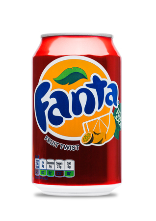 illustrative editorial: LONDON, UK - JUNE 9, 2017: Aluminum can of Fanta fruit twist soda drink on white background.produced by the Coca-Cola Company.