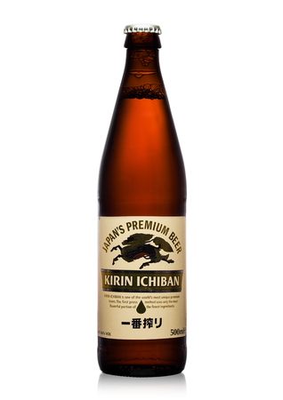 LONDON,UK - SEPTEMBER 24, 2017: Bottle of Kirin Ichiban lager Beer on white background