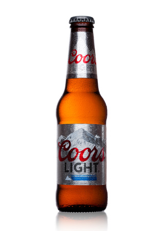 LONDON, UK - NOVEMBER 03, 2017: Bottle of Coors Light beer on white background. Coors operates a brewery in Golden, Colorado, that is the largest single brewery facility in the world. Editorial