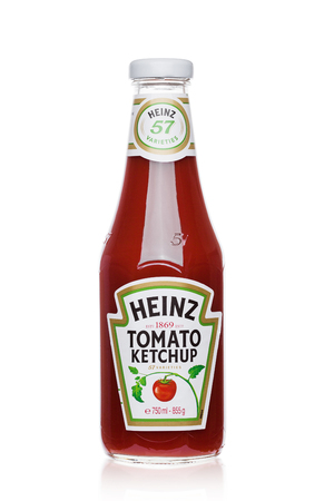 LONDON, UK - NOVEMBER 03, 2017: A bottle of Heinz Ketchup on white background.